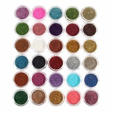 30pcs Mixed Colors Powder Pigment Glitter Mineral Spangle Eyeshadow Makeup Cosmetic Set Long-lasting 2016 Random Color(China)