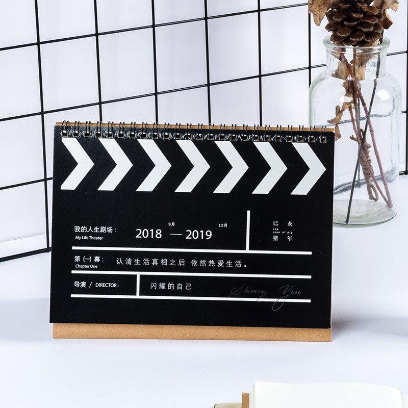 2019 Cartoon Pig Kraft Paper Calendar Diy Desktop Calendar Agenda Organizer Daily Schedule Planner 2018.08~2019.12 Calendar