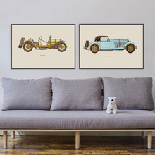 Vintage Poster 1937's Vintage Car Minimalist Art Print A4 On Canvas Printing Modern Home Living Room Decoration Wall Picture(China)