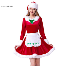 Charmian New Women Christmas Costumes Adult Sexy Santa Claus Costumes Red Christmas Dress Sweet Miss Santa Cosplay Costumes(China)
