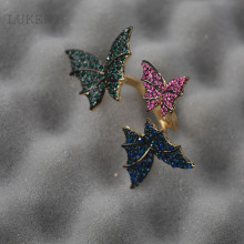 New Arrival Nationality Wind Butterfly Crystal Rose Flowers, The Adjustment Ring Opening Rings For Women Fashion Jewelry
