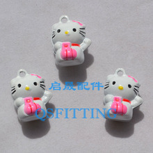 10pcs Jewelry Department Cartoon Cats Pink Color Jingle Bells Copper Dog Collar Accessories(China)