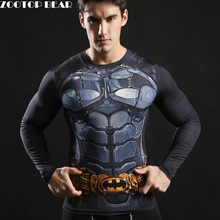 3D Long Sleeve Harajuku T-shirts Compression Shirt Batman Tshirts Fitness Spring Tops Novelty Male Camiseta 2017 ZOOTOP BEAR