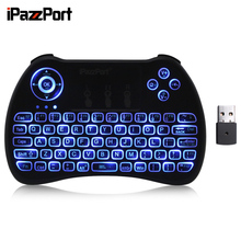 New iPazzPort 2.4GHz Wirless Mini Keyboard RGB Backlit With Mouse Touch Russian English Spanish German French Italian Keyboard