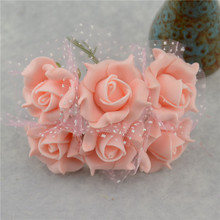 12pcs Lace Foam Pentagon Rose Artificial Flower Bouquet For Wedding Car Decoration DIY Garland Decorative Floristry Fake Flowers