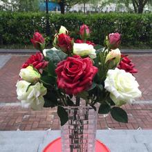 Decorative Flowers-----real touch rose & bud ,wedding flower arrangement,home decoration,white red,pink yellow green orange(China)