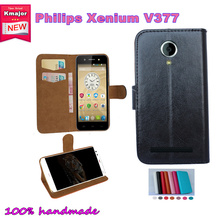 2016 Hot!! For Philips Xenium V377 Case Factory Price 7 Colors Leather Exclusive For Philips Xenium V377 Phone Cover+Tracking