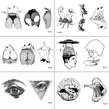 Sexy Woman Body Mouth Gun Eyes Waterproof Temporary Tattoo Stickers for Adults Body Art Fake Tatoo for Women Tattoos(China)