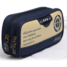South Korea Pen Stationery Bag Canvas Multilayer Children Navy Pencil Bag Stationery Supplies(China)