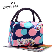 ZXCVBNM Hot Sale 2017 New Fashion Women Tote Handbag Female Casual Print Canvas Square ice bag big thermal insulation bag WH052