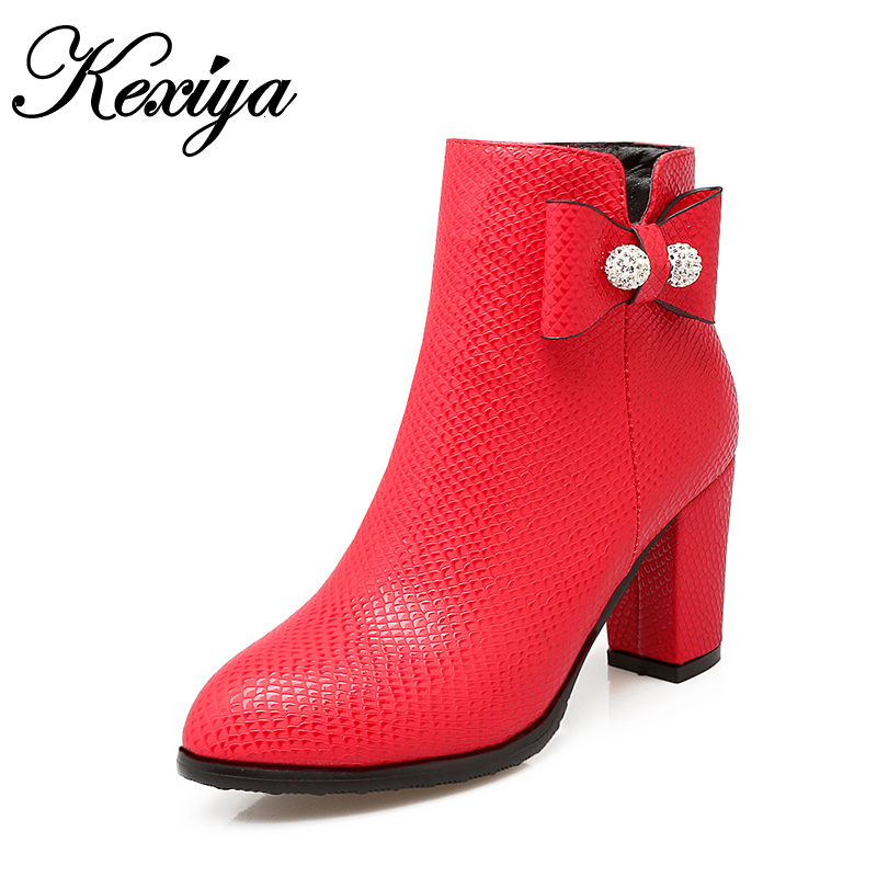 Fashion Round Toe Winter short boots sexy women red wedding high heels Big size 32-48 ladies zipper black bowknot Ankle boots<br>