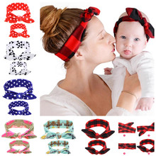 Wholesale Mom and Me Headband Fabric Girl Headband Rabbit Ears Elastic Headwrap Kids Hair accessories 100Sets/lot 200pcs