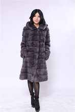 genuine natural mink fur coat, dark grey with big hood 90cm,2016 new fashional style, natural mink coat fur dark grey with hood