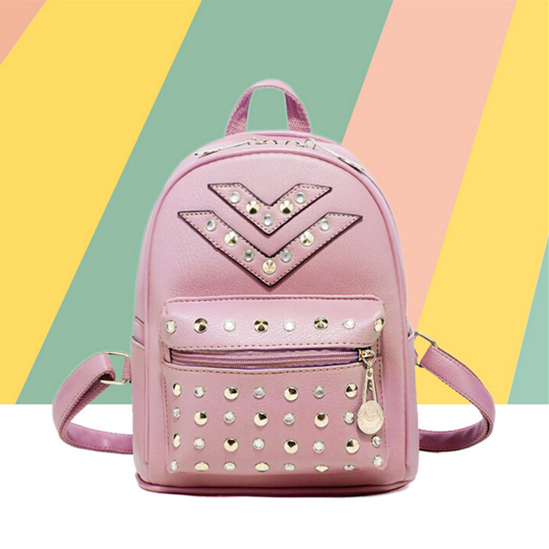 New Style Casual Women Backpack Famous Brand Shoulder Crossbody Bags Leather School Student Backpack Rivet High Quality <br><br>Aliexpress
