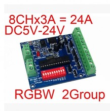 DC5V-24V simple 2 Groups 4-channel RGBW DMX512 led light controller Easy to DMX control, DMX 512 decoder board,Free shipping