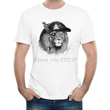 Newest 2017 Fashion The Pirate Lion King T-Shirt Men's Cool Animal Custom Printed T Shirt Summer Novelty Male Tops Tee