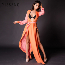 Yissang2017 Summer New Long Sleeved Silk Dress Fashion Sexy Bohemian Orange Night Party Floor Length Split Vestidos Robe