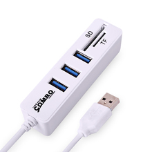 Multi USB Hub 2.0 3 Ports + Card Reader Portable Hub USB Combo High Speed Mini USB Splitter All In One For SD/TF For Computer PC(China)
