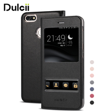 DULCII for Huawei p9 lite mini Enjoy7 Y6 Pro 2017 Case Dual View Windows Leather Protective Cover for Huawei P 9 lite mini Funda(China)