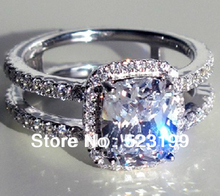 New Luxury Design Female Yellow Clear Cushion Cut simulate Diamond Ring For Women Bridal Wedding Jewelry 18K White Gold Cover