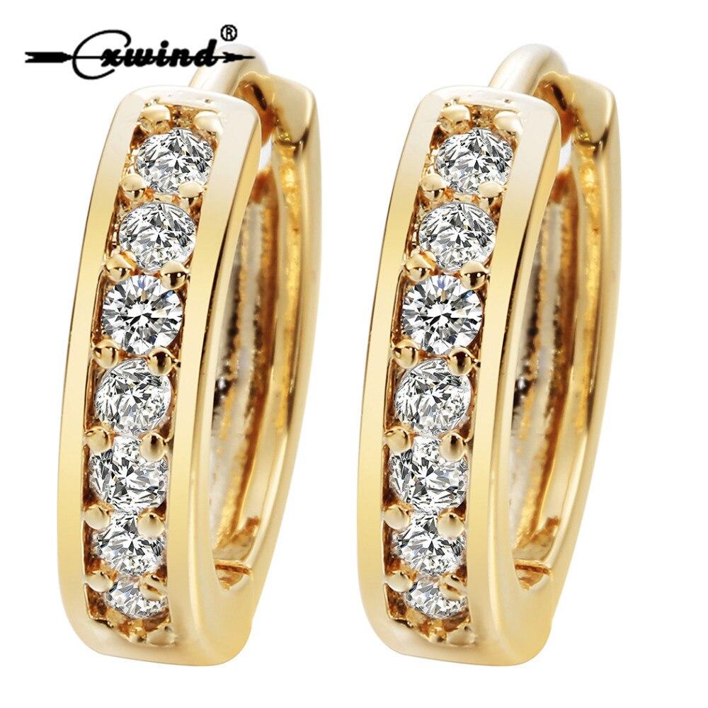 Cxwind Small Hoop Earrings Gold Filled Clear Cubic Zirconia Round Hoop Earrings for Womens Earrings Sexy Ear Surgical Jewelry