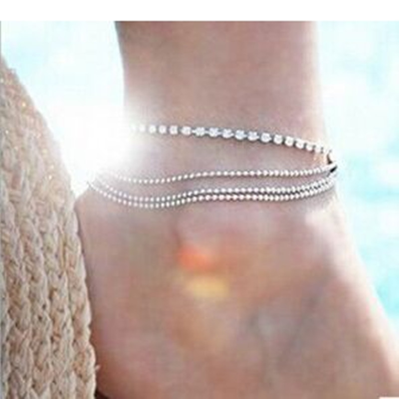 New Fashion Women's multi Layers Ankle Bracelet Chain Link Foot Crystal Beads Sandal Beach Anklet Jewelry Female