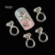 10pc Silver Alloy Glitter 3d Nail Art Rings Decorations with Rhinestones,Alloy Nail Charms,Jewelry on Nails Salon Supplies TN325