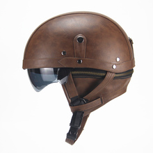 Motorcycle Motorbike Rider Half Open Face PU Leather Helmet Visor With Collar Leather vintage Motorcycle Motorbike Vespa DOT(China)