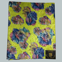 Yellow floral printing nigeria headtie,african head gear  sego headtie, multicolored african gele fabric 2 pcs/pack LXLH3-7
