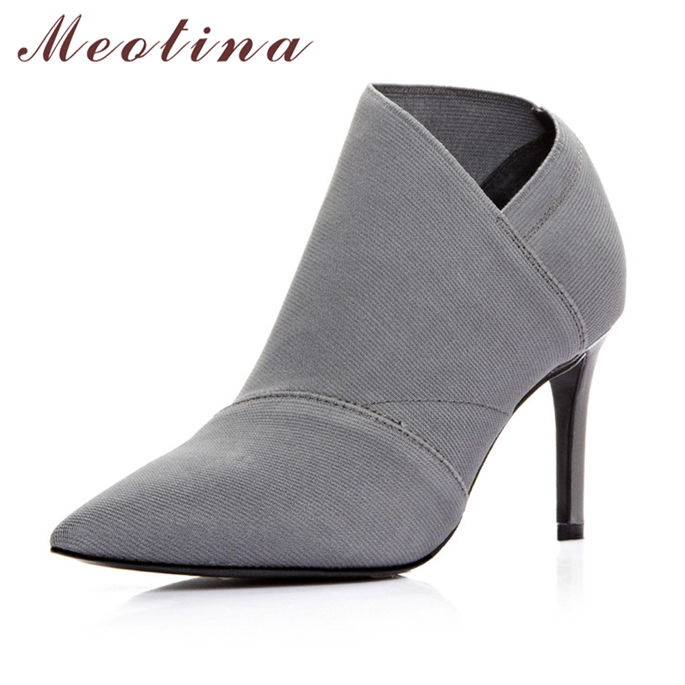 Meotina Genuine Leather Boots Women Ankle Boots Fashion Boots Pointed Toe Stiletto High Heel Black Gray Autumn Sexy Shoes Size 9<br>