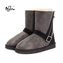 MYLRINA Top Quality Women Winter Boots Warm Wool Snow Boots 100% Natural Fur Women Boots Genuine Sheepskin waterproof Boots(China)