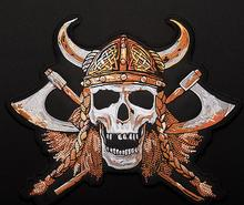 20*24CM Skull Pirate Harley Patch for MC Motor Cycle Embroidery Patches for Jacket Sew-On Iron-On Clothing DIY Large Size