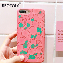 BROTOLA Juicy Peach Phone Case For iPhone 7 Summer LovelyFruits Hard PC Cover For iphone 6s 6 7 plus Girl Like Pink Phone shell