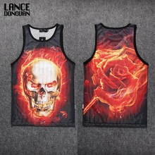 Both Sides 3D PRINT Tank Top Men Mesh Cotton Tops Casual Sleeveless Undershirts
