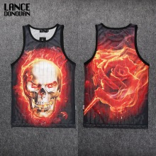 Both Sides 3D PRINT Tank Top Men Mesh Cotton Tops Casual Sleeveless Undershirts(China)
