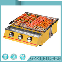 Yellow Large-size 3 Burner BBQ Gas Grill Glass Shield or Steel Shield Household CommercialGrill Size 450*425mm(China)
