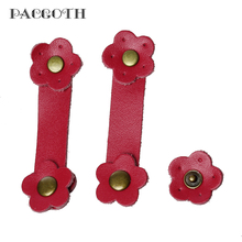 PACGOTH 2017 New Designed Real Leather Snap Closure for Purse Handles Flower Red 8cm x2.4cm 2.4cmx2.4cm,2 Sets