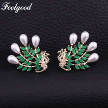 Feelgood Luxury Jewelry Fashion Imitation Pearl Stud Earring Beautiful Cubic Zirconia Peacock Earrings For Women Christmas Gift(China)