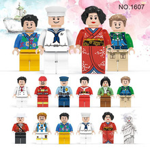 12pcs Pirate Player Firemen Policemen Painter Magician Nurse Teacher Goddess 3D Model Building Blocks Compatible with lego567933(China)