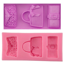 Girl Wallet Handbag & Bag & Purse Silicone Fondant Soap 3D Cake Mold Cupcake Jelly Candy Chocolate Decoration Baking Tool FQ3067(China)