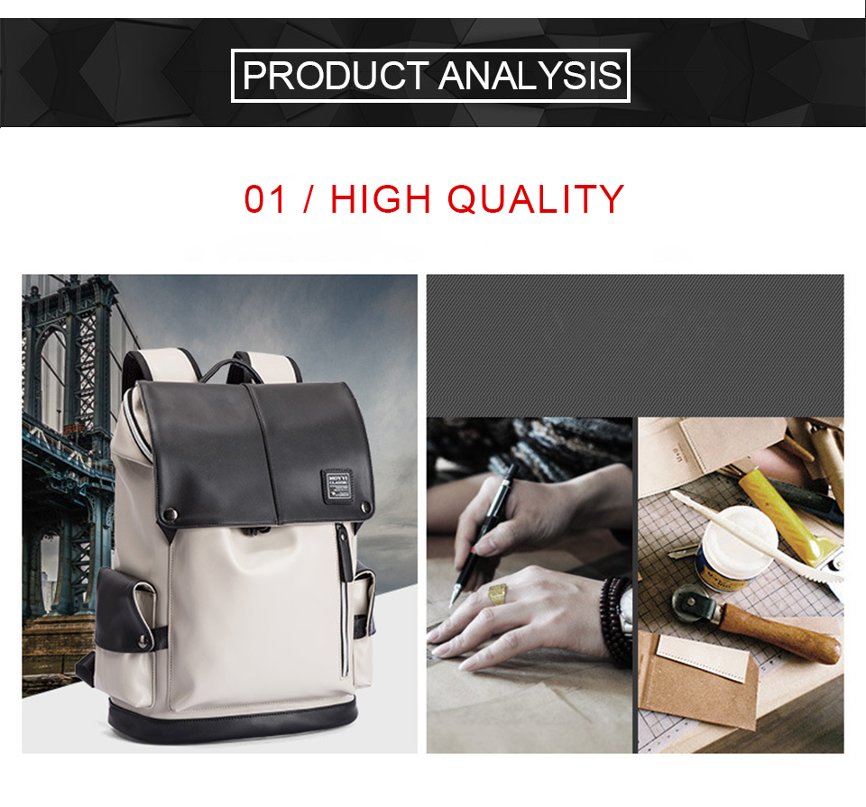 Men Backpack PU Leather Backpacks Male Laptop 17 Inch 15.6 Backpacking Women Female Bags Student Waterproof USB Charging Bagpack (4)