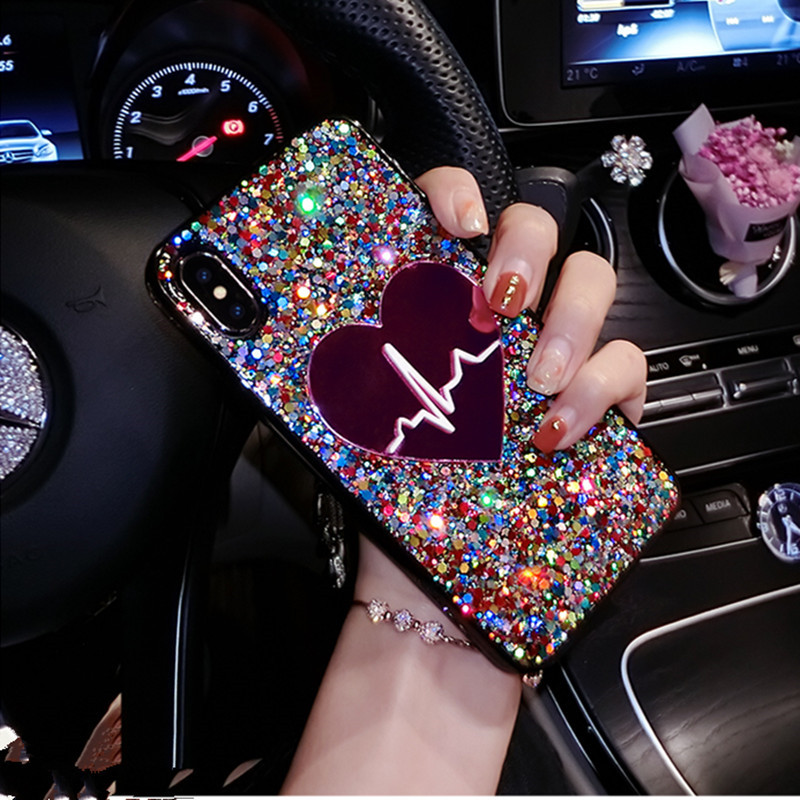 Glitter Sequin Big Heart Case For coque iPhone X S MAX Xs XR 3D Love Soft TPU Cover For iPhone 6 6s 7 8 plus phone case Funda (China)