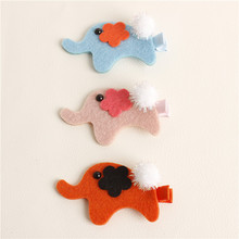 20pcs/lot Animal Handmade Elephant Hair Clip Animal Fancy Hair Accessory Party Animal Costume Felt Animal Barrette Woodland Gift