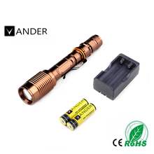 2017 New VANDER LED Torch CREE XM-L T6 LED 2000 Lumens 5 Modes Flashlight Torch Waterproof 200M+2pcs 18650 battery +AC charger