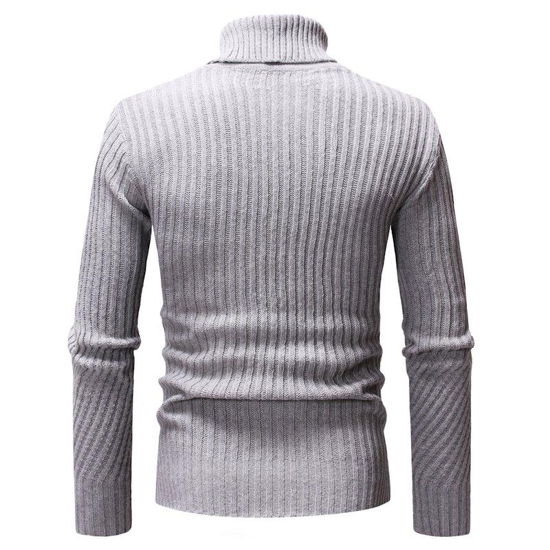 el/ástico Jersey de punto para hombre con cuello alto para oto/ño e invierno monocolor de manga larga