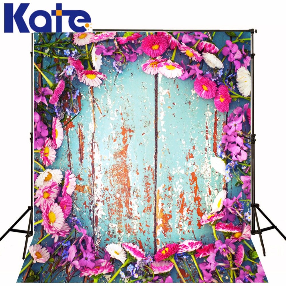 KATE Photo Background 8X8FT Newborn Photography Backdrop Scenic Photography Backdrops Wood Flowers Background for Photo Studio<br>