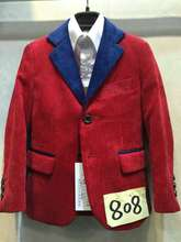 Boys Corduroy Suits Red Wedding Tuxedo for Children Formal Terno Jacket Vest and Pant 3PCS Education Party Suits(China)
