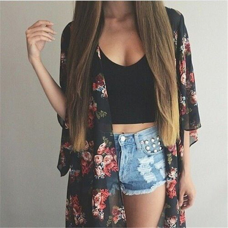 Women Casual Vintage Kimono Cardigan Ladies 2018 Summer Long Crochet Chiffon Kimono preto Loose flora printed Blouse Tops Black(China)