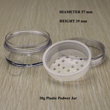 20pcs 20g Clear Empty Cosmetic Packaging Loose Powder Container Plastic Jar Jars Container Pot With Lids For Makeup Nail Art(China)