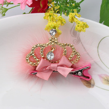 M MISM 2017 Fashion Girls Lace Crystal Crown Hair Clips With Rabbit Fur Princess Hair Style King Rhinestone Accessories Hairpin(China)